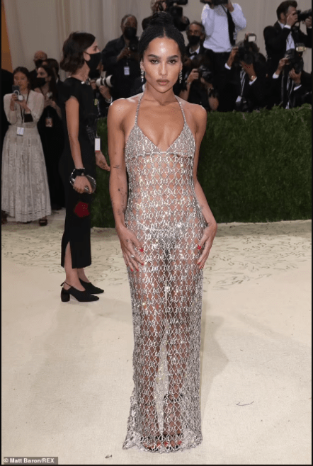 Zoe Kravitz goes nearly naked as she attends 2021 Met Gala in just glittering Saint Laurent chains (photos)
