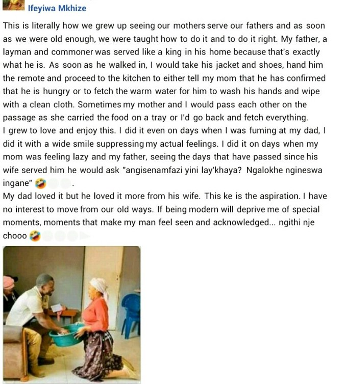 """""""I have no interest to move from our old ways"""" - South African woman explains how she intends to serve her husband like a"""