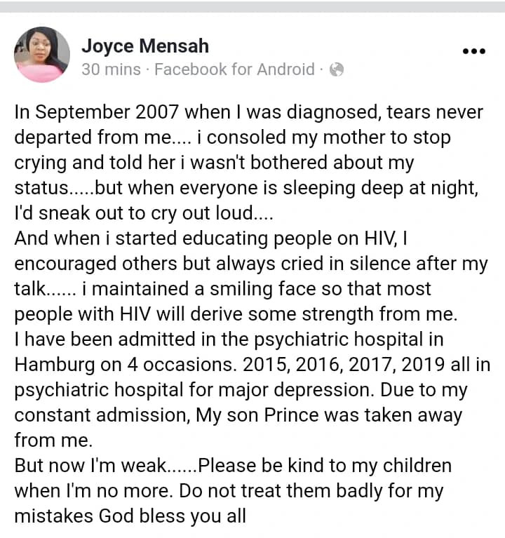 Be kind to my children when I?m no more ? HIV positive actress, Joyce Dzidzor Mensah shares emotional note