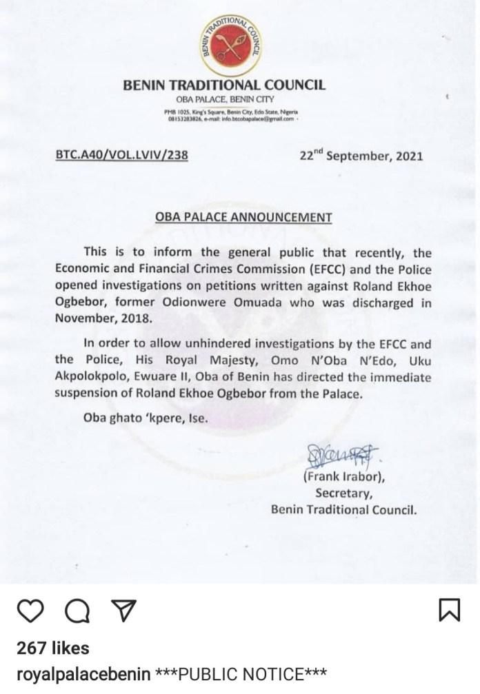 Oba of Benin, Oba Ewuare II announces suspension of Chief Servant, Roland Ekhoe Ogbebor, over EFCC investigation