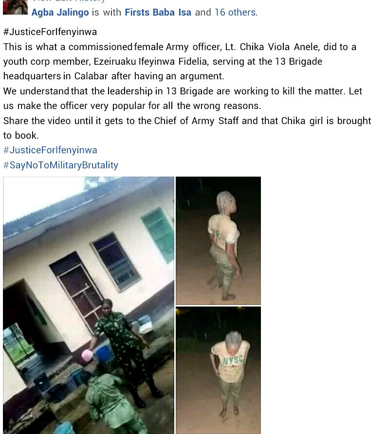Female Army officer caught on camera bathing Corps member with unknown substance in Calabar for allegedly arguing with her (video)