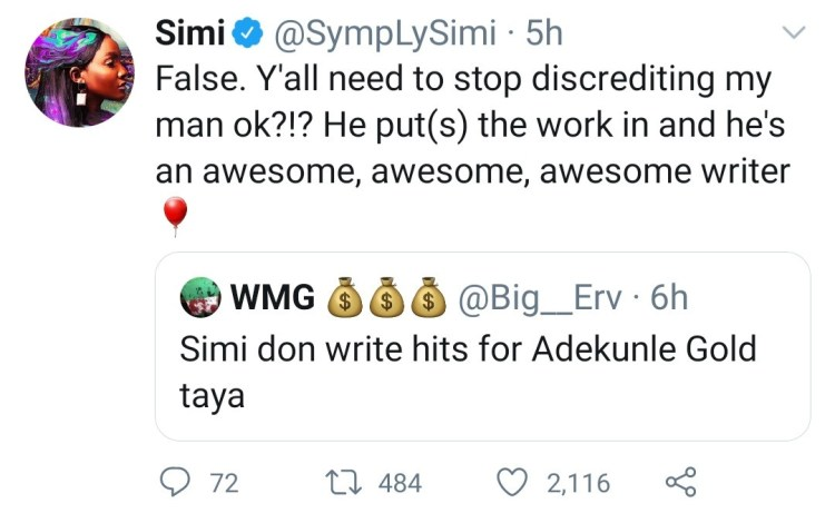Simi defends her husband Adekunle Gold after he was discredited by a Twitter user