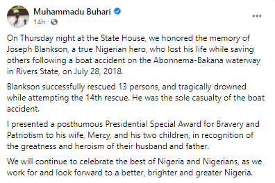 President Buhari honors Rivers state man, Joe Blackson, who died after rescuing 13 people from a river and drowned while attempting to rescue the last person (photos)