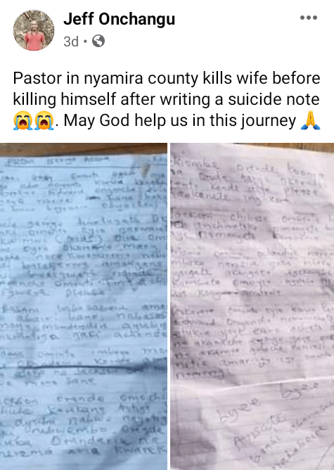 Kenyan pastor kills wife, commits suicide after HIV tests turned out positive; suicide note says she cheated and infected him with the virus