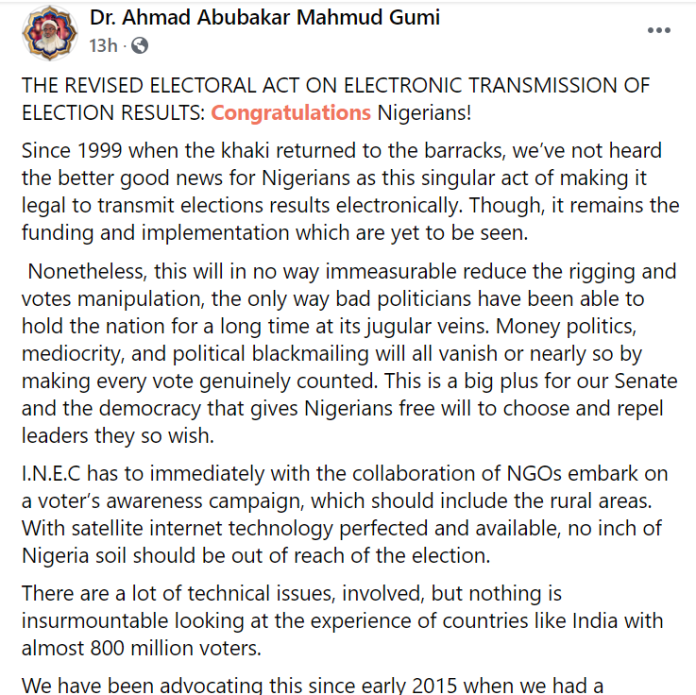 E-transmission of election result will stop money politics, mediocrity, and political blackmailing - Sheik Gumi