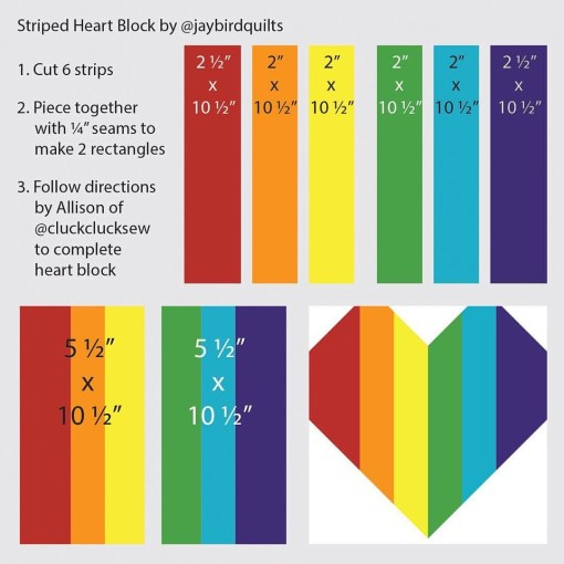 rainbow stripes tutorial for heart block