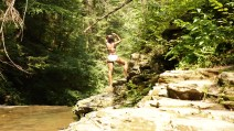 waterfall swimsuit rocks alexis chateau hiking