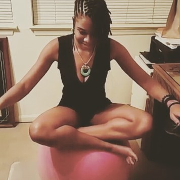 alexis chateau yoga ball exercise fitness fit jamaican woman