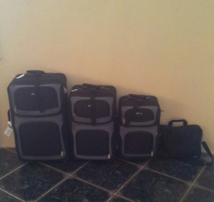 suitcases laptop travel