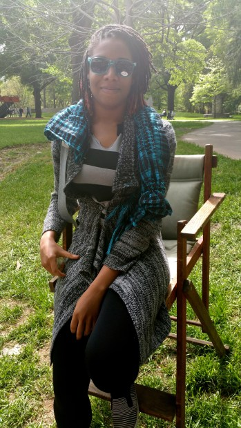 alexis chateau sitting fashion shades scarf