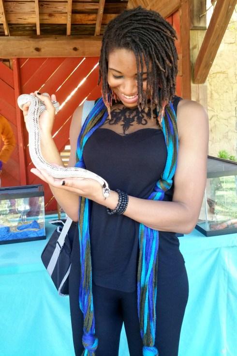 alexis chateau high white california king snake dreads