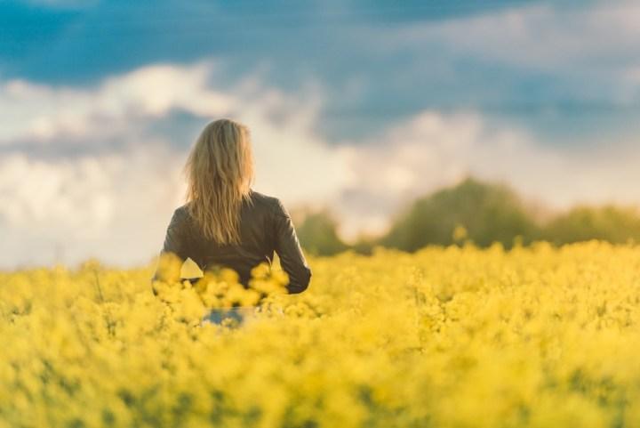 woman working in the fields flowers