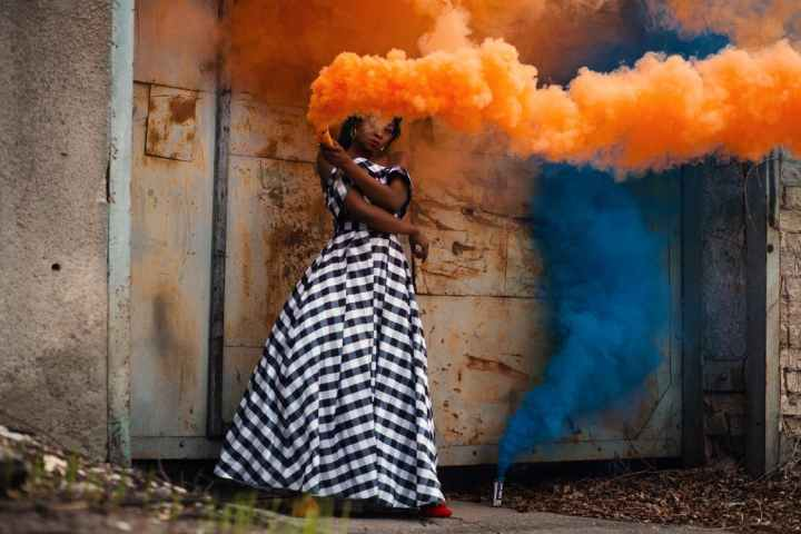 Black Woman Coloured Smoke