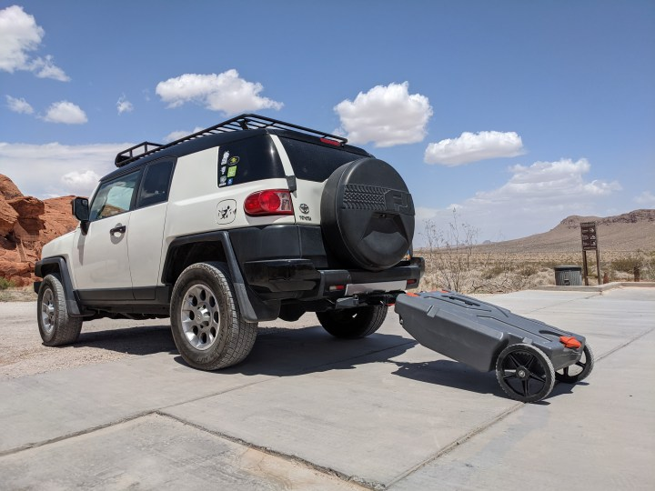 RV Travel Vlog | How I Use My FJ Cruiser To Tow My Portable Sewer Tank