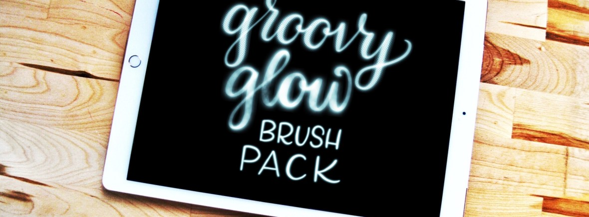 Groovy Glow Procreate lettering brush pack
