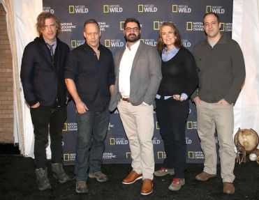 """PARK CITY, UT – JANUARY 23: Brett Morgen, Sebastian Junger, Tim Pastore, Marina Zenovich and Simon Chinn attend National Geographic Channels' """"Documentary All Stars: The Champions Of Nonfiction,"""" a panel discussion and reception during the Sundance Film Festival at The Shop in Park City, Utah, on January 23, 2016. (Photo by Kristin Murphy/Getty Images for National Geographic Channels)"""