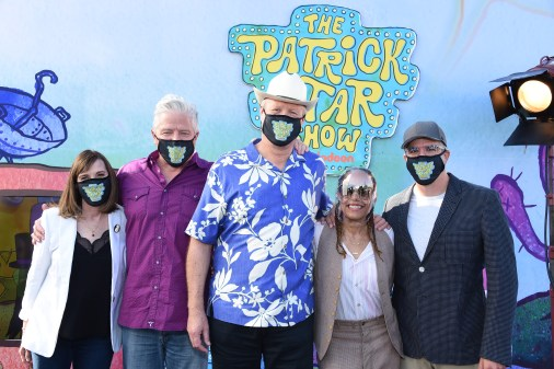 """The cast of """"The Patrick Star Show"""" at the drive-in premiere"""