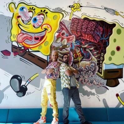 SpongeBob BingePants podcast hosts Frankie Grande and Hector Navarro