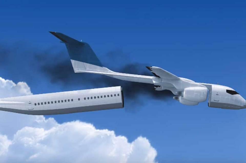 Diseñan cabina de pasajeros que se desprende del avión en caso de emergencia