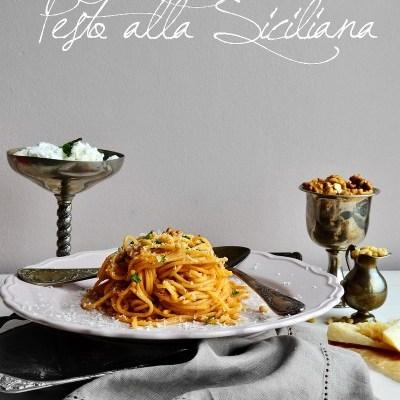 Pesto alla siciliana : ricotta, seminte de pin si nuci