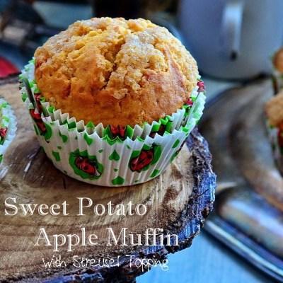 Muffins din cartof dulce si mar, cu topping Streusel
