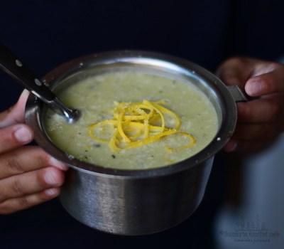Supa crema de dovlecel galben cu busuioc si nuci