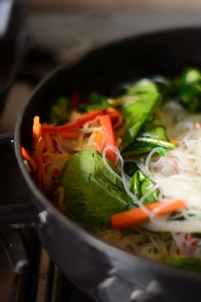 Japchae Tăiței de celofan/korean glass noodles cu legume