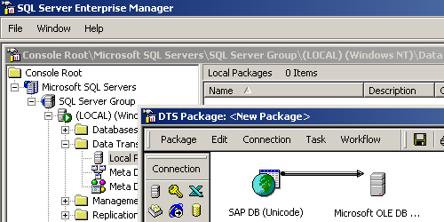 Screenshot von SQL Server Enterprise Manager mit SAP MaxDB