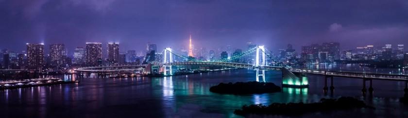 Rainbow Bridge in Tokyo Bay, Japan