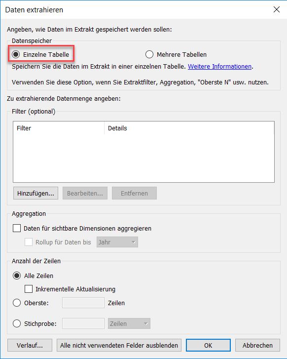 """Ausgewählte Option """"Einzelne Tabelle"""" im """"Daten extrahieren""""-Dialog"""