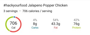 Nutrition - Jalapeno Popper Chicken