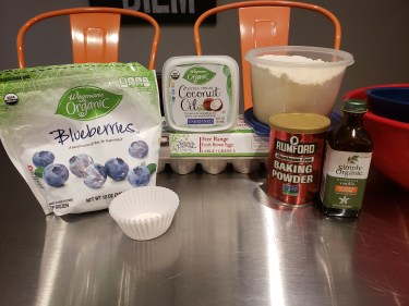 Ingredients - Coconut Flour Blueberry Muffins