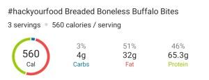 Nutrition - Breaded Boneless Buffalo Chicken Bites