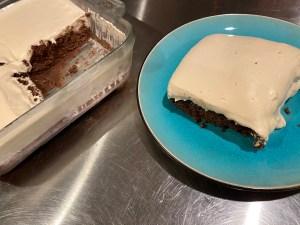 Final Plated - Keto Cheesecake Style Tiramisu Sheet Cake