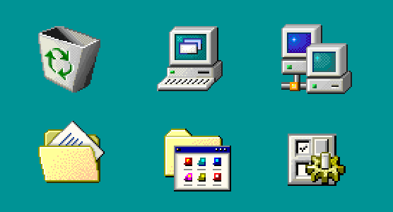windows 98 icons are