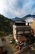The view of Taiwan's central mountains from the hotel room.