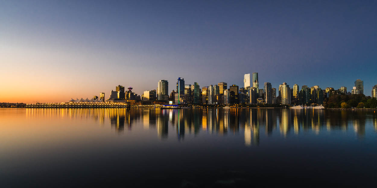 Vancouver at Sunrise from Coal Harbour