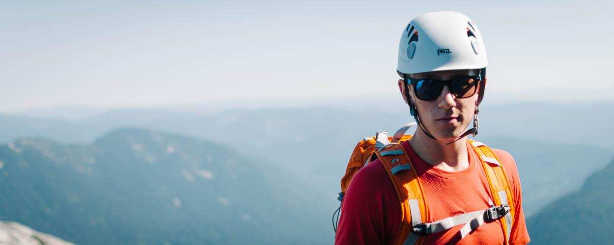 Climber in Helmet