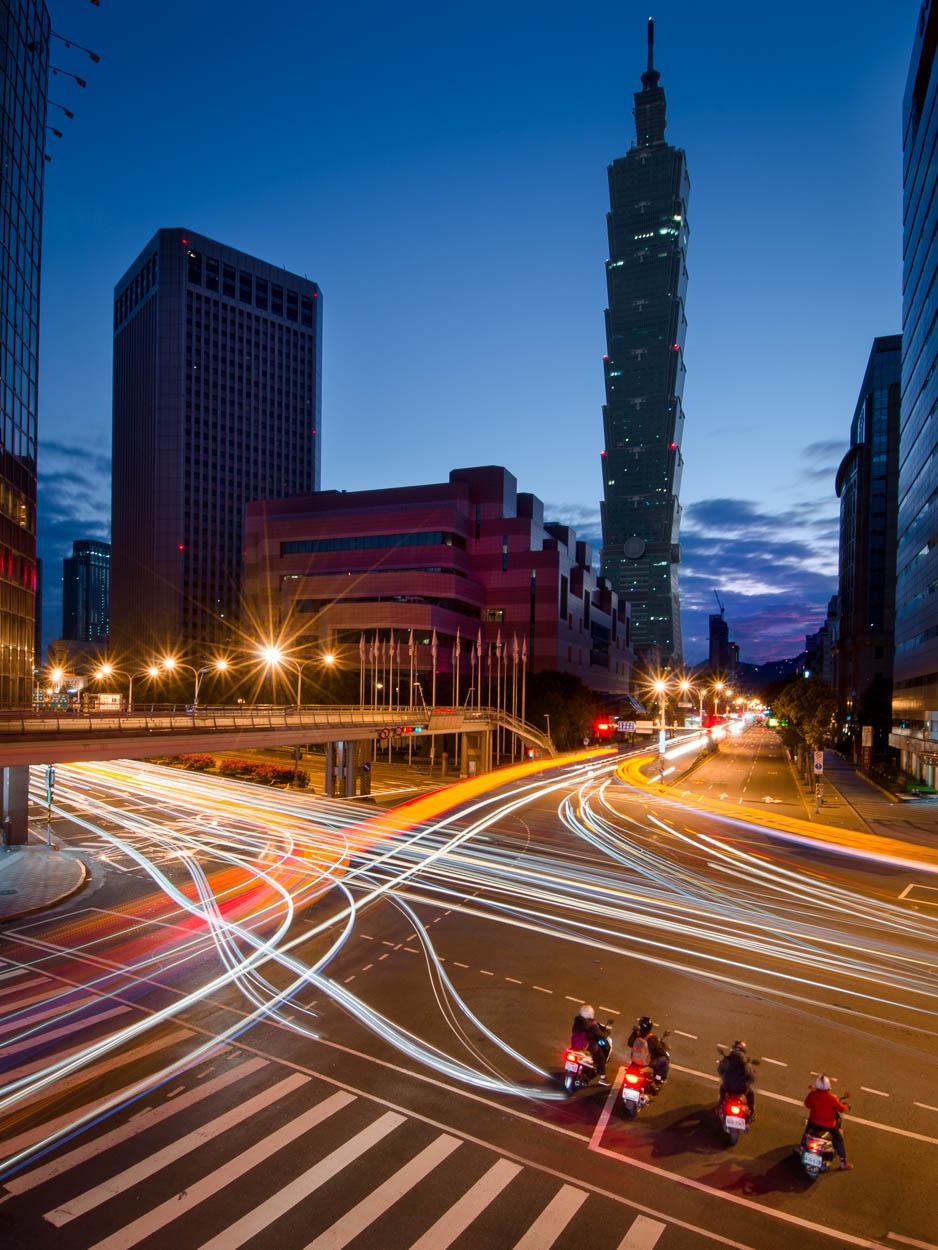 Car trails and Taipei 101 at sunrise