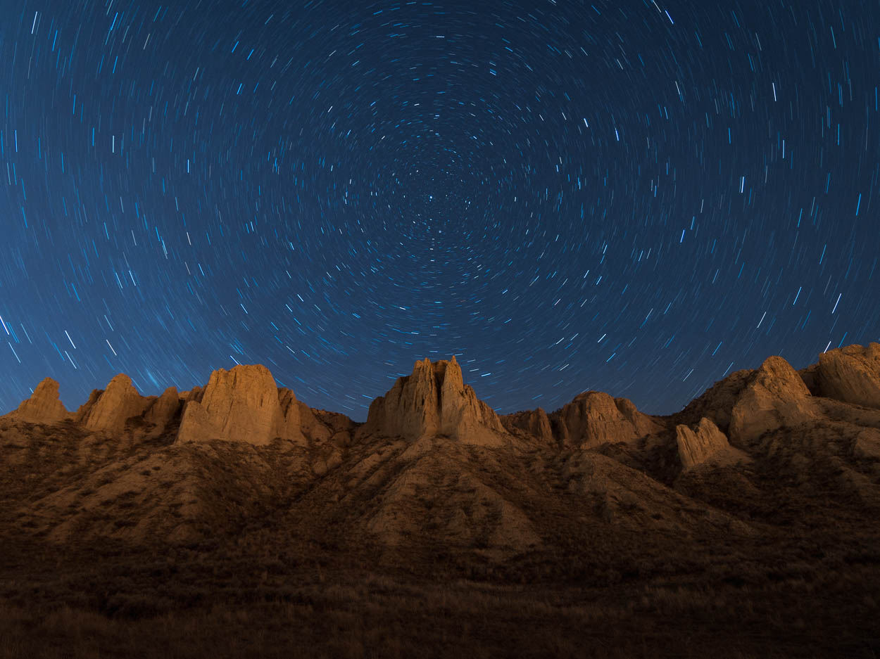Stars rotate above Kamloops Hoodoos