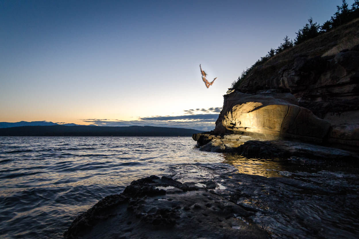 Jumping off the bluffs of Hornby Island Helliwell Provincial Park.