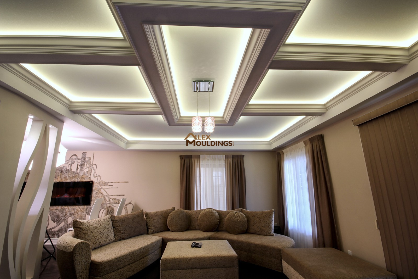 Wainscoting Paneling  Coffered Waffle Ceiling  Archways