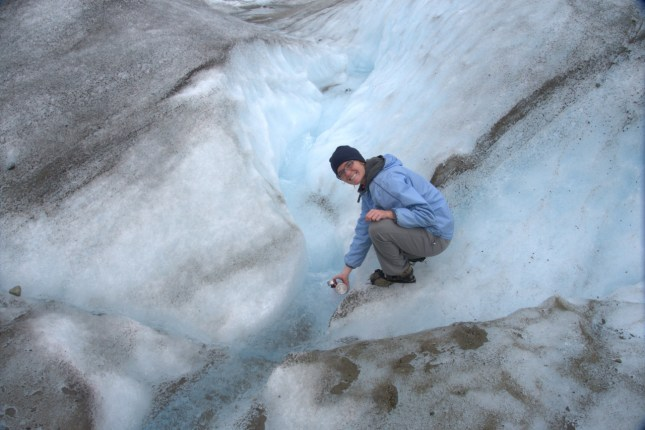 Drinking water right off the glacier :)