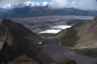 The view from on top of the ridge. That is a rock glacier running through the middle of the picture.