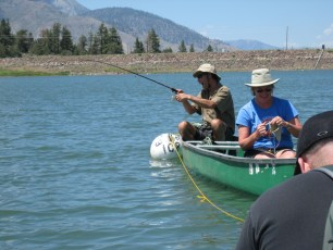 6/18/09: Dad exhibits the joy of hooking a trout. Indian Creek Reservoir, CA