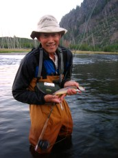 8/25/10: Dad with a fine Yellowstone brown trout. Madison River, WY