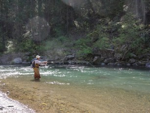 4/28/13: Dad on the sublime McCloud River for opening day of trout season