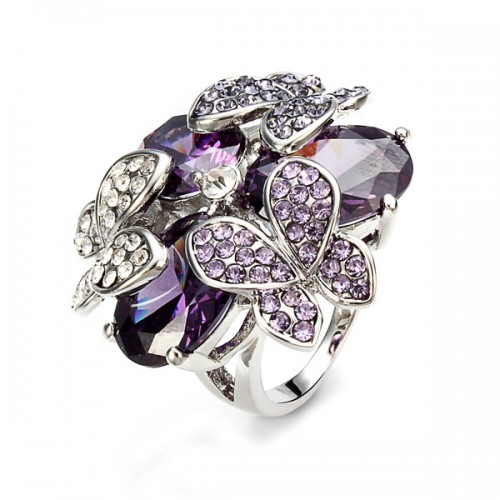 Purple Austrian Crystal Zircon Butterfly Ring For Women