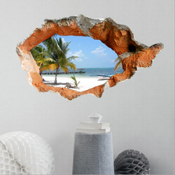 d beach wall decals inch removable sea wall art stickers home