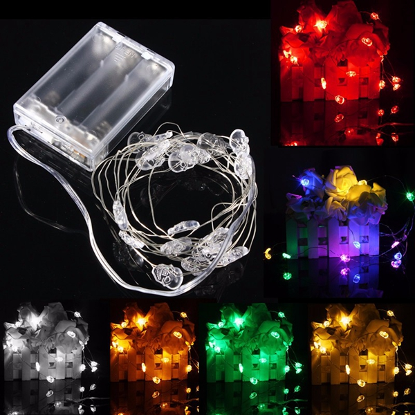 2M 20 LED Skull Style Battery Operated Xmas String Fairy